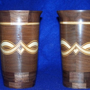 6 inch high walnut glasses with maple and veneers on the bias.