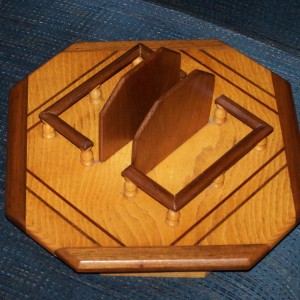 Ash and walnut lazy susan with napkin holders and bordered area for salt and pepper shakers