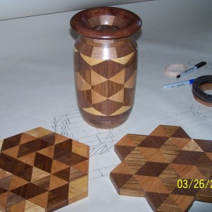 Created form the same triangles both cutting boards and , or creating a blank for the lathe can be achieved.