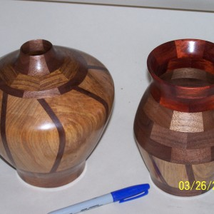 2 Vases using the Oats design with Maple and Walnut.