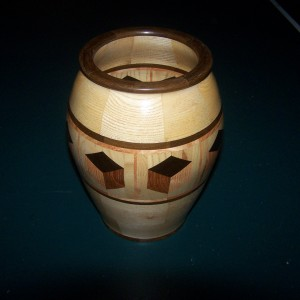 Segmented Wood turning. Ash vase with 3D highlight ring of tumbling block design.