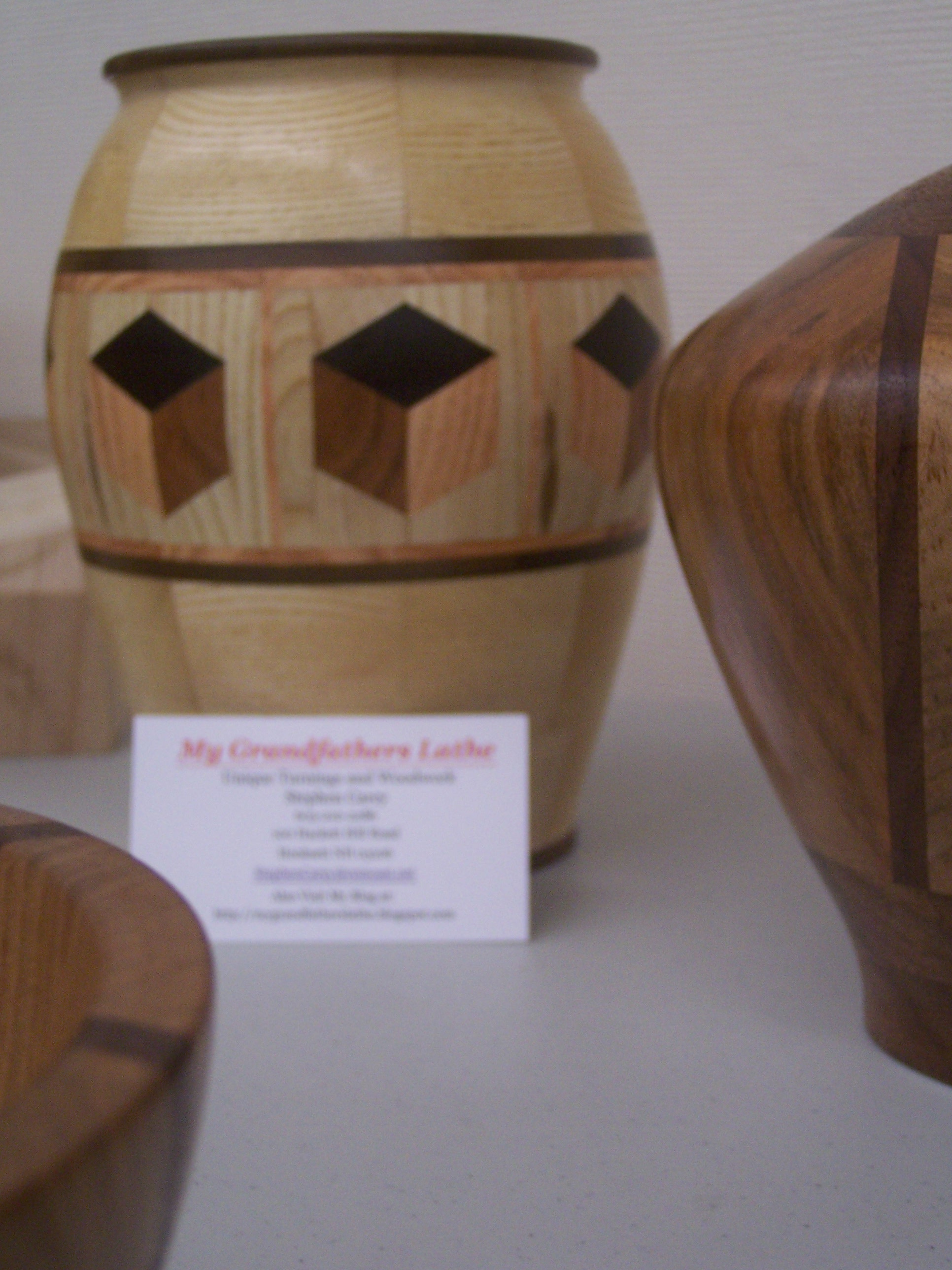 Wood art my grandfathers lathe gallery segmented wood turning ash vase with 3d highlight ring of tumbling block design reviewsmspy