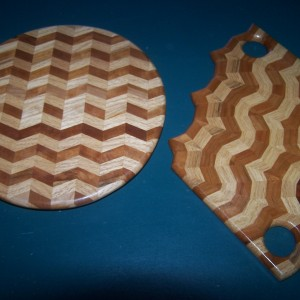 2 generation lazy susan and 3 generation cutting board of the same oak and cherry material.