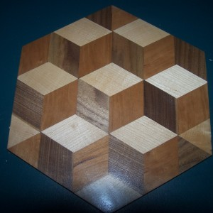 2 Inch tumbling blocks of walnut , birch and cherry.