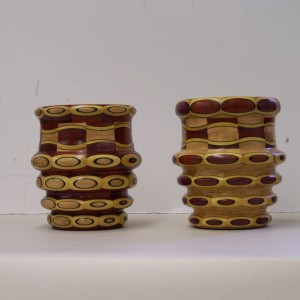 Segmented wood turning, Cherry with purple heart, blood wood and paduk highlights