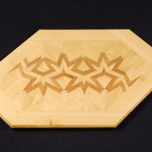 A simple 3 generation lamination is all that is required to make this design of Poplar and Mahogany.