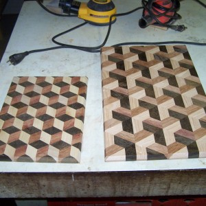 3D tumbling block and trapezoid Brazilian Walnut and Cherry with Ash. These cutting boards weigh approx. 5 pounds each.