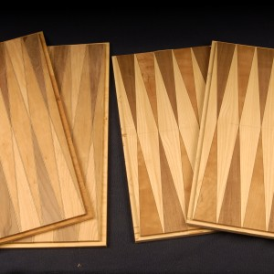 Various blanks ready for application, each with a unique veneer highlight.