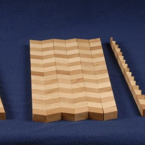 By flipping every other one over we create a 'chevron' pattern to make a new board with a new pattern.