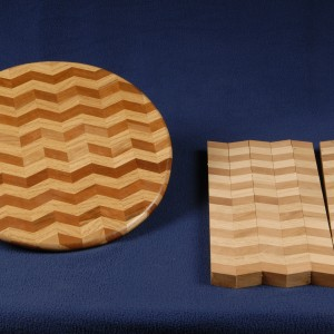 Our new chevron pattern board is used to create a lazy susan, a favorite around our kitchen.